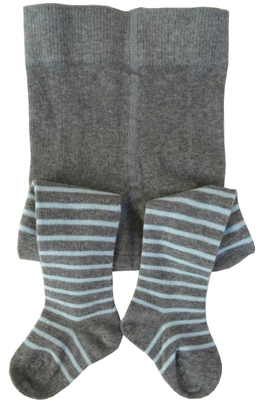 Baby-strømpebukser (2% Lycra) Grå/ rosa og Grå/ blå striper - 15231 og 15232