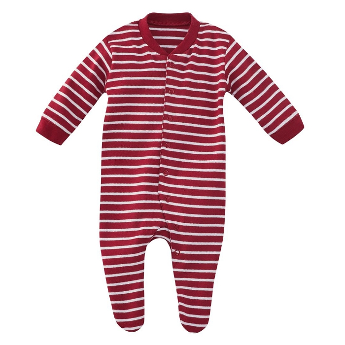 Pyjamas m/føtter (Interlock) Røde striper - 16101