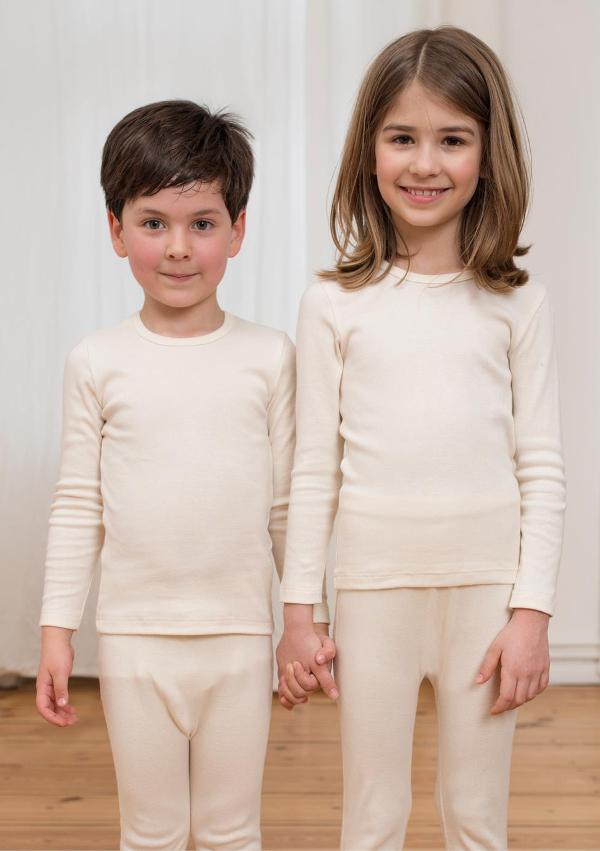 Langermet trøye og longs (Finribbet) Naturlig hvit