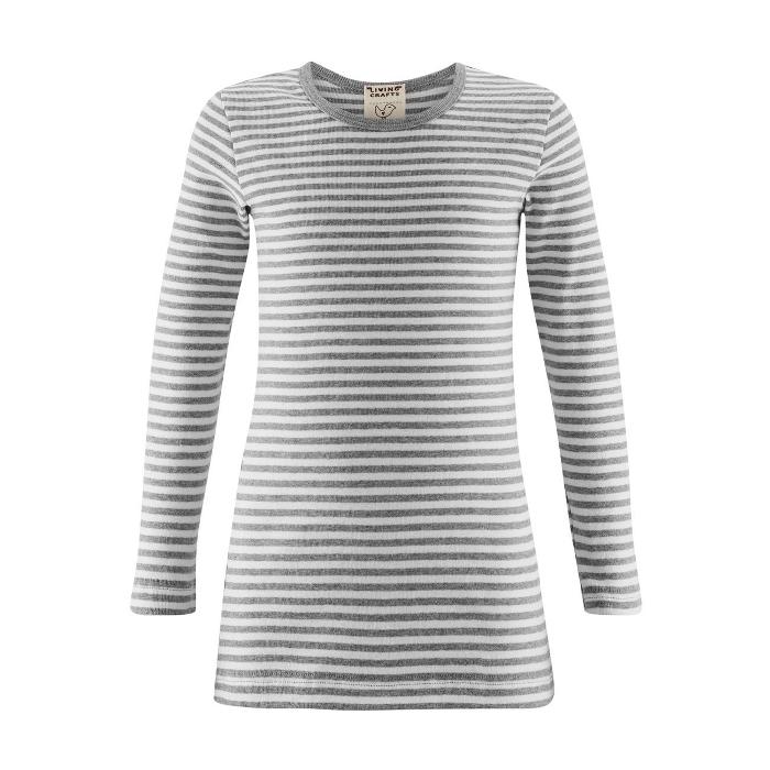 Langermet trøye (Finribbet) Grå striper - 25035