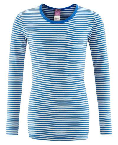 Langermet trøye (Finribbet) Blå striper