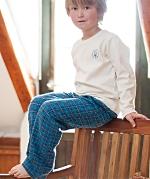 Todelt pyjamas (Int. og flanell) Blårutet