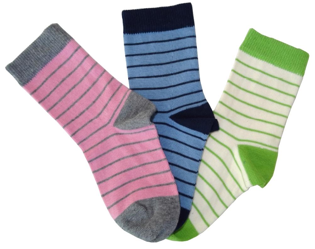 Sokker barn (2% Lycra) Rosa/ grå, Blå/ marine og Grønn/ natur striper - 28141, 28142 og 28143
