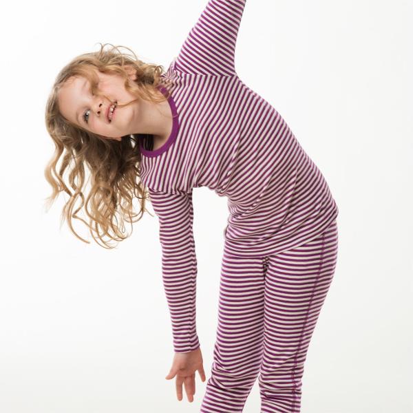 Langermet trøye og longs (Finribbet) Lilla striper