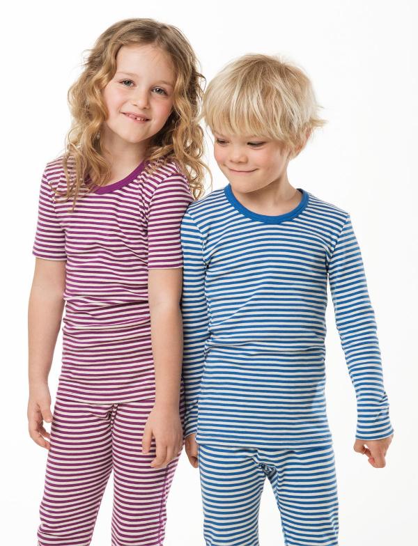 Langermet trøye og longs (Finribbet) Blå striper