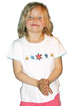 T-skjorte (Jersey) Off-white m/blomster