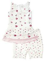 Baby-sett (Jersey) Halvbleket hvit m/blomster - 37071