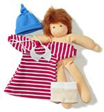 Dukke - påkledning, rødstripet kjole